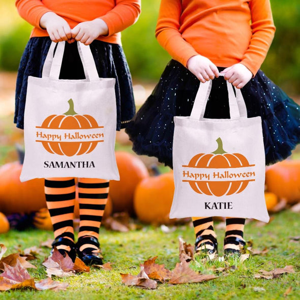 Personalized Happy Halloween Kids Tote Bag for Kids.