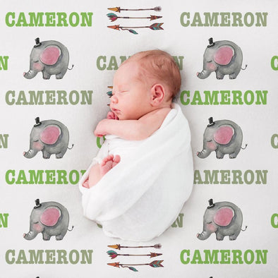 Custom Elephant Baby Blanket Personalized w/ Name Pattern