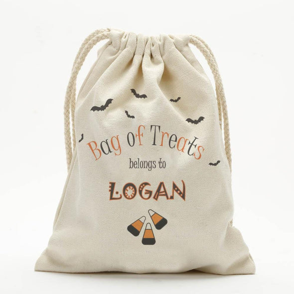 Custom Candy Corn Halloween Drawstring Sack of Tricks for Kids.