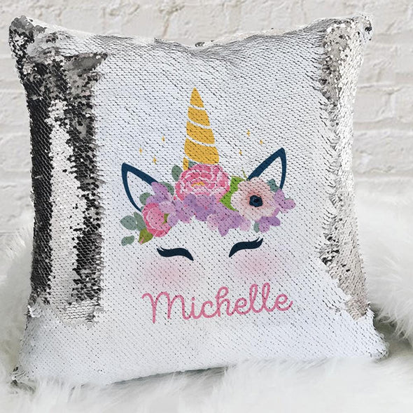 Personalized Kids Unicorn Sequin Throw Pillowcase | Custom Sequin/Mermaid Pillow.