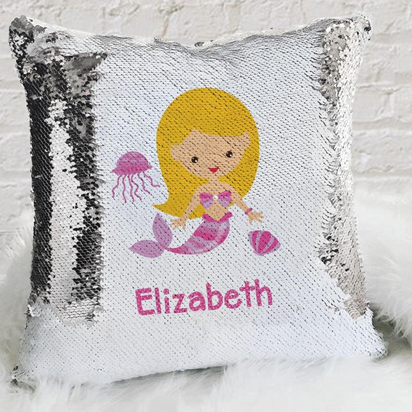 Kids Mermaid Personalized Flip Sequin Decorative Throw Pillowcase