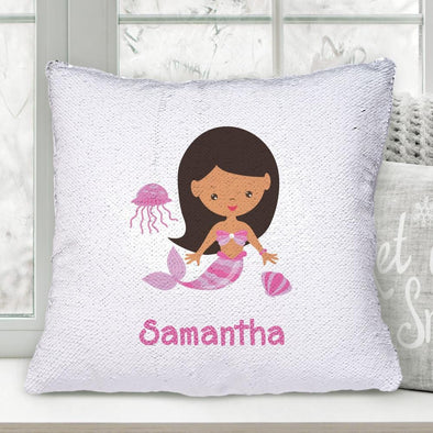Kids Mermaid Personalized Flip Sequin Decorative Throw Pillowcase.