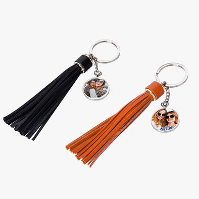 Personalized Round Photo Keychain w/ Long Tassel