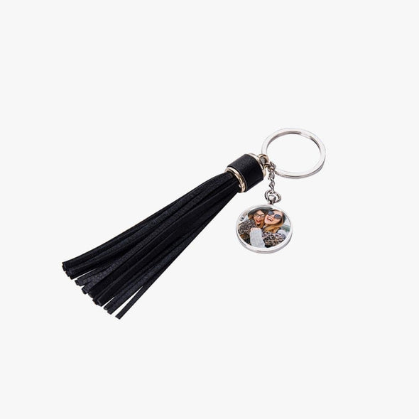 Personalized Round Photo Keychain w/ Long Tassel.