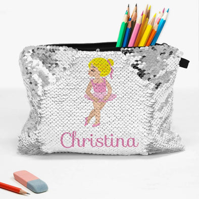 Customized Sequin Ballerina Kids Accessory Bag | School Pencil Pouch.