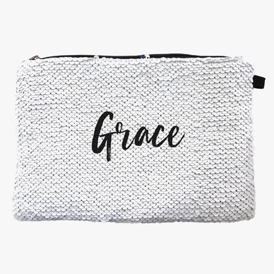 Personalized w/ Name Sequin Makeup Bag Organizer | Cosmetic Bag