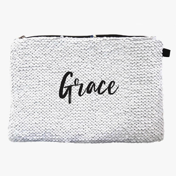 Personalized w/ Name Sequin Makeup Bag Organizer | Cosmetic Bag.
