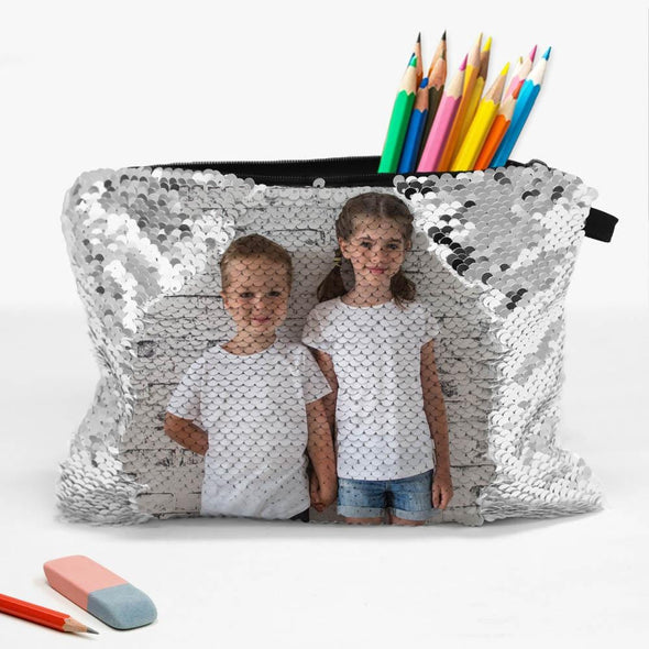 Personalized Sequin Photo Zippered Makeup Pouch Bag.