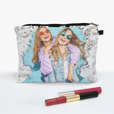 Personalized Sequin Photo Zippered Makeup Pouch Bag