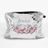 Personalized Floral Sequin Zippered Makeup Pouch Bag
