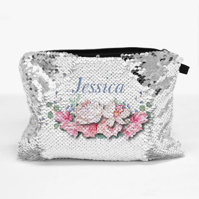 Personalized Floral Sequin Zippered Makeup Pouch Bag.