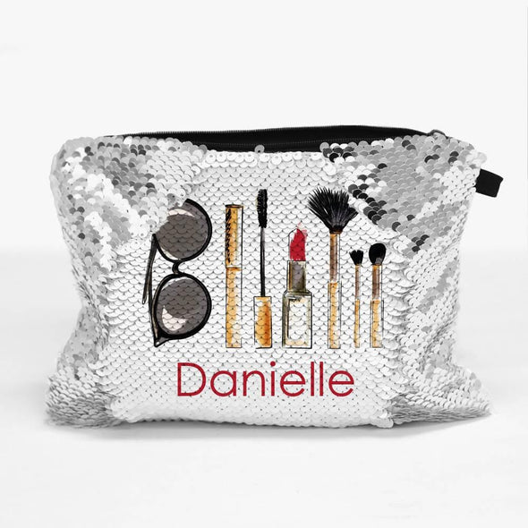 Personalized Sequin Makeup Cosmetics Bag.