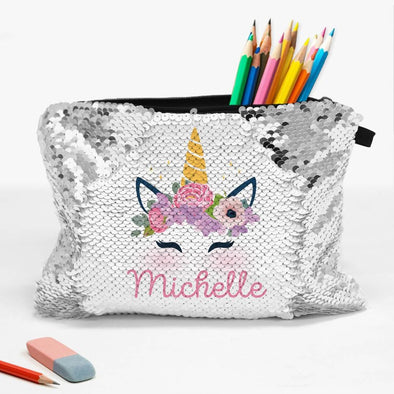 Customized Sequin Unicorn Kids Accessory Pouch Bag | School Pencil Bag.