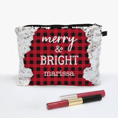 Custom Sequin Makeup Bag Zippered Accessories Pouch.