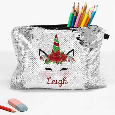 Poinsettia Unicorn Custom Zippered Sequin Kids Accessories Pouch.