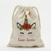 Custom Christmas Poinsettia Unicorn Drawstring Sack for Kids | Personalized Santa Bag.