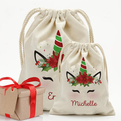 Custom Christmas Poinsettia Unicorn Drawstring Sack for Kids | Personalized Santa Bag