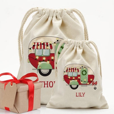 Happy Camper Christmas Custom Drawstring Sack for Kids | Personalized Santa Bag.