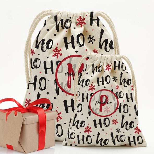 Custom Ho Ho Christmas Drawstring Sack.