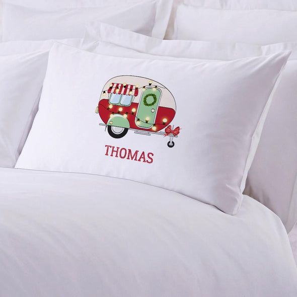 Happy Camper Personalized Christmas Kids Sleeping Pillowcase.
