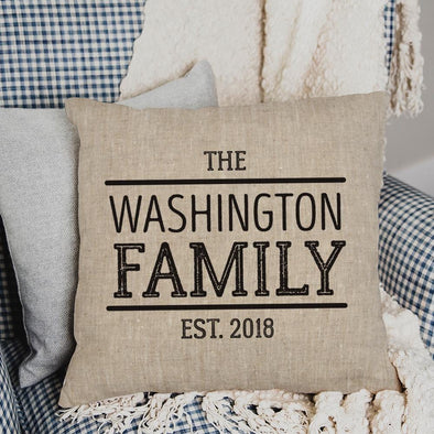 Established Personalized Linen Decorative Pillowcase