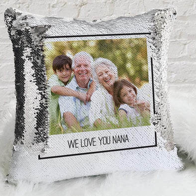 Polaroid Photo Personalized Sequin Pillow Case | Custom Mermaid Throw of Your Photo.