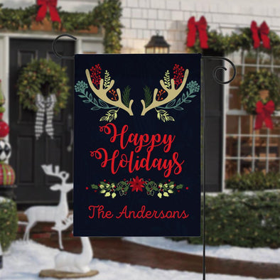Happy Holidays Custom Christmas Garden Flag.