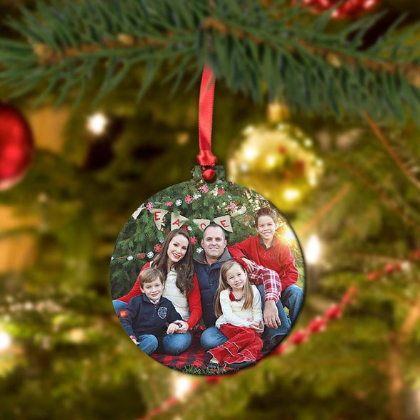 Photo Personalized Christmas Round Metal Ornament.