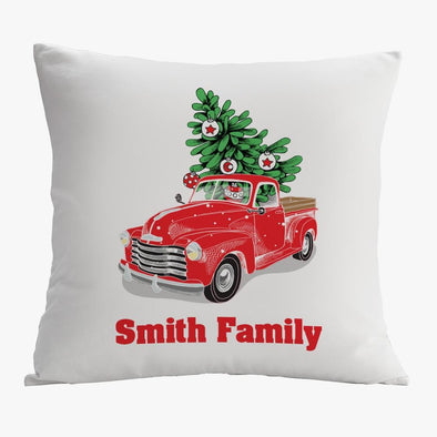 Vintage Red Truck Personalized Christmas Decorative Pillowcase