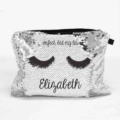Perfect Lashes Personalized Sequin Makeup, Cosmetics Bag.