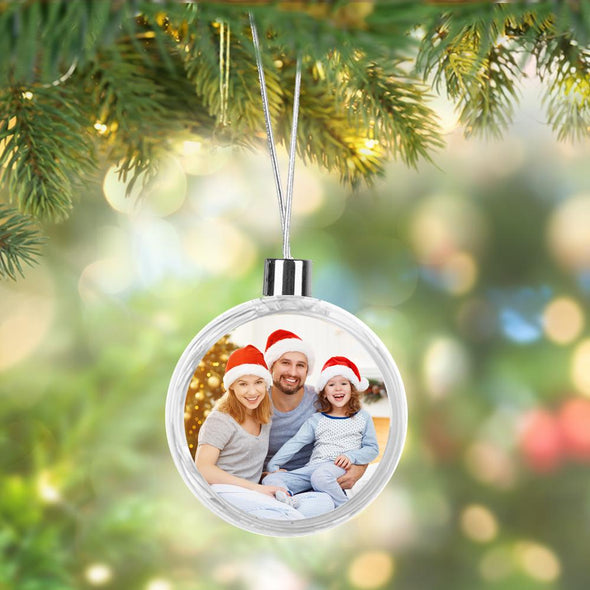 Round Custom Photo Hanging Plastic Ornament | Personalized Christmas Tree Ornament