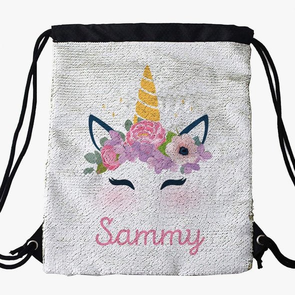 Unicorn Custom Kids Sequin Drawstring Bag | Personalized Backpacks.