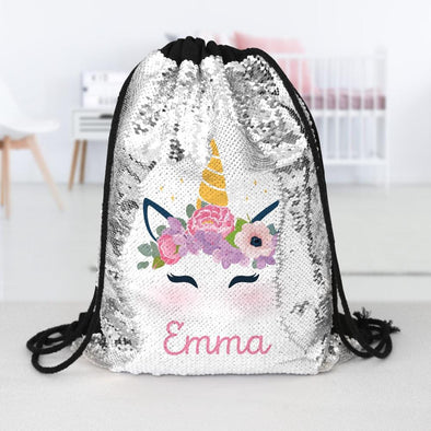 Unicorn Custom Kids Sequin Drawstring Bag | Personalized Backpacks