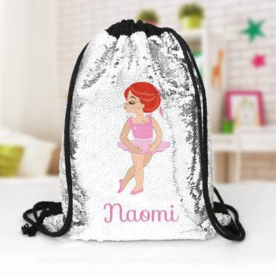 Ballerina Custom Kids Sequin Drawstring Bag | Personalized Backpacks