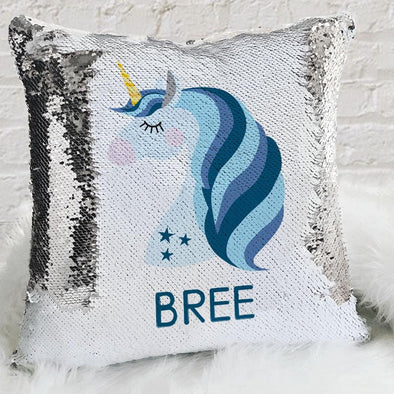 Blue Unicorn Personalized Flip Sequin Decorative Throw Pillowcase