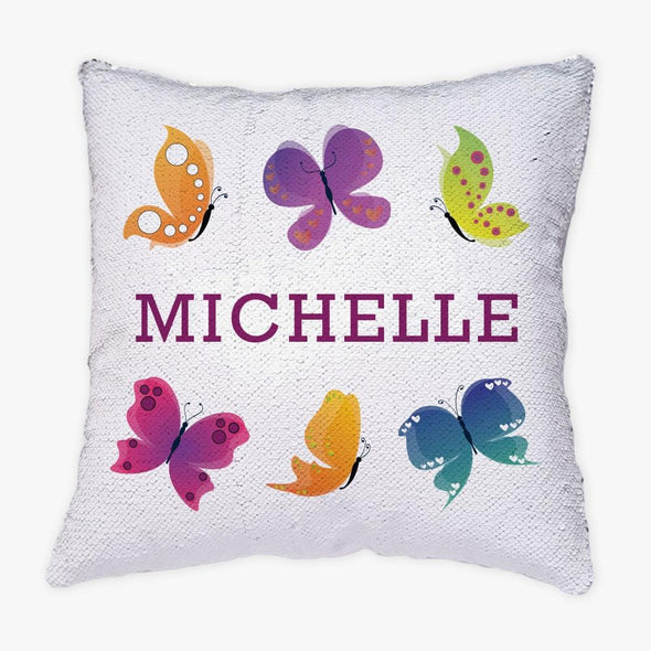 Butterfly Personalized Flip Sequin Decorative Throw Pillowcase