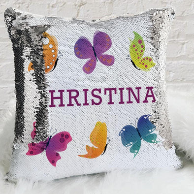 Butterfly Personalized Flip Sequin Decorative Throw Pillowcase.