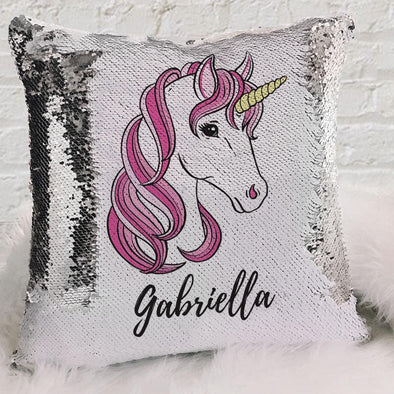 Pink Unicorn Personalized Flip Sequin Decorative Throw Pillowcase.
