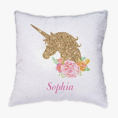 Gold Unicorn Personalized Flip Sequin Decorative Throw Pillowcase.