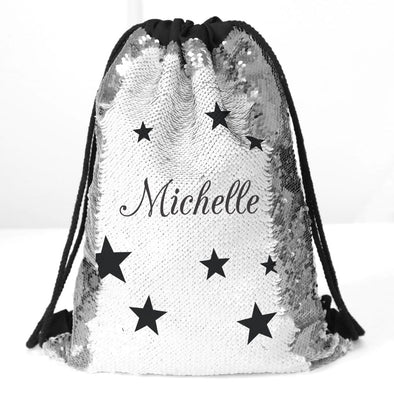 Stars Custom Kids Flip Sequin Drawstring Bag | Personalized Backpacks.