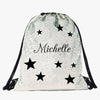 Stars Custom Kids Flip Sequin Drawstring Bag | Personalized Backpacks