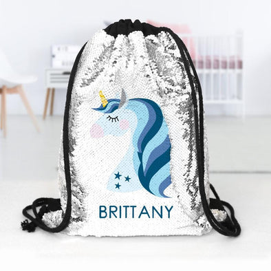 Blue Unicorn Custom Kids Flip Sequin Drawstring Backpack