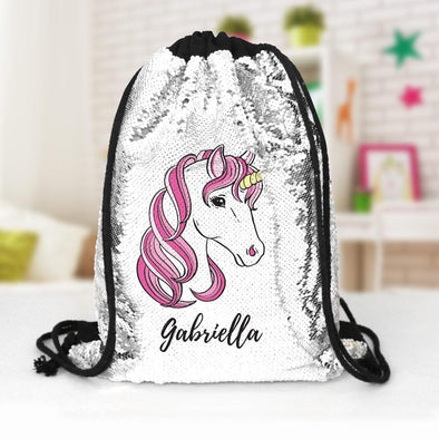 Pink Unicorn Custom Kids Flip Sequin Drawstring Backpack