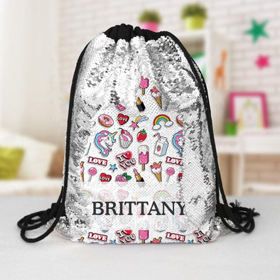 Happy Place Custom Kids Flip Sequin Drawstring Backpack.