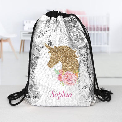 Gold Unicorn Personalized Kids Flip Sequin Drawstring Bag | Custom Backpacks