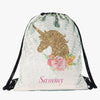 Gold Unicorn Personalized Kids Flip Sequin Drawstring Bag | Custom Backpacks.