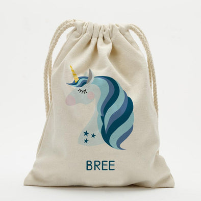 Blue Unicorn Personalized Drawstring Sack.