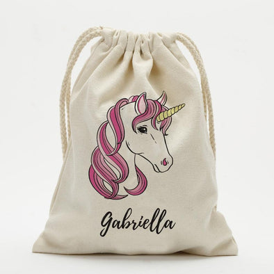 Pink Unicorn Personalized Drawstring Sack.