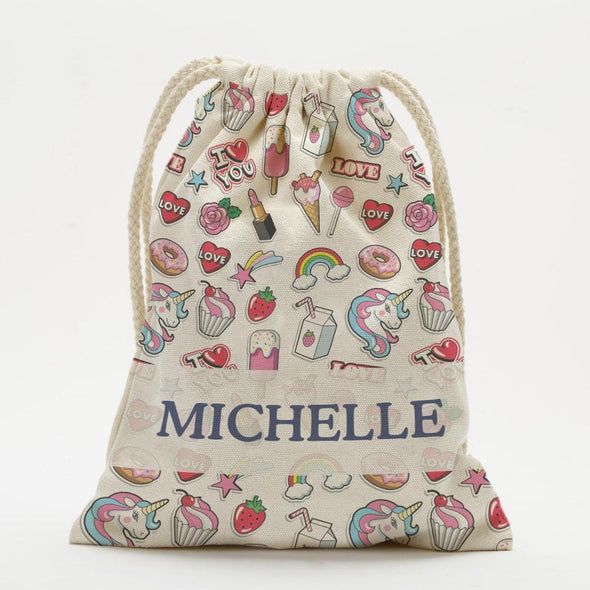 Happy Place Personalized Drawstring Sack.