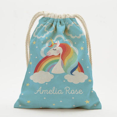 Rainbow Unicorn Personalized Drawstring Sack.
